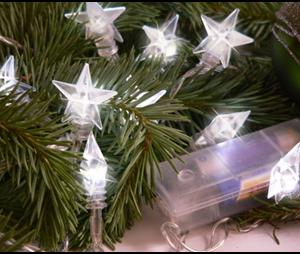 Valguskett 'Valged tähed'' 10 LED lampi