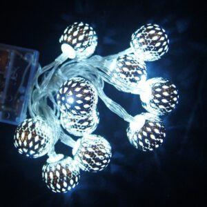 Valguskett 'Metallist pall'' 10 LED lampi